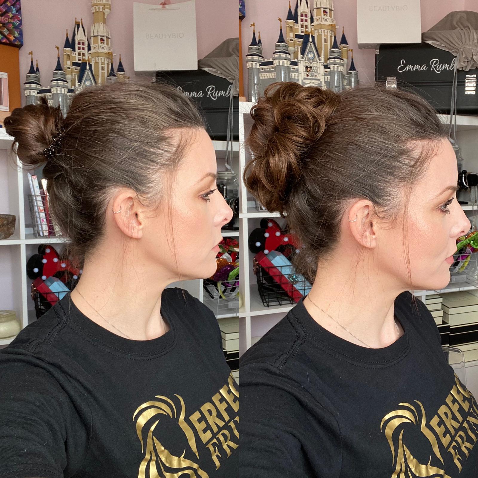 messy hair fake faux bun stretch piece