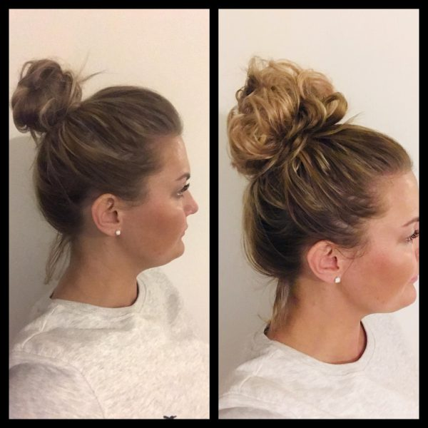 stretch fake faux messy bun real hair