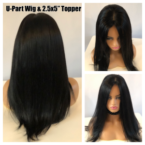 U-Part Wig/Topper  SET, Lighter density, layered, comfortable, Wig & Topper Duo (Flat Black)