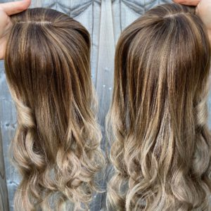 """Ready to ship """"CARAMEL MIX"""" Luxury Topper, Blonde & Brown lowlights & highlights, Dimensional, 6×6″ Silk Toppers – 22-23″ Lengths,Dimensional, golden warm caramel tones"""