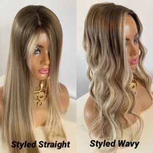 """CINDY"" 4×5″ Silk Base Topper, Multi Dimensional Blonde, Soft Ombre, Lowlights – BREATH-TAKING! & Money Piece"