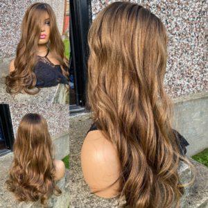 "PRE-ORDER ""HAIR AFFAIR"" 8X8″ Luxury Topper, 25″ length, 165g, Light golden dimensional brown & ombre"