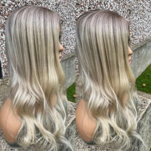 """READY TO SHIP """"FLIRTY"""" 5X6″, 21″ length, 95g, Light Blonde with Ashy Ombre"""