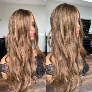 """BIRTHDAY GIRL"" 7.5X7.5″ Luxury Topper, 25″ length, 165g, Brunette with gold & caramel & blonde highlights"